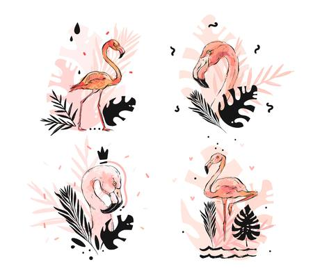 Hand drawn vector abstract graphic freehand textured sketch pink flamingo and tropical palm leaves drawing illustration collection set with modern decoration elements isolated on white background.