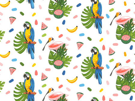 Hand drawn vector abstract cartoon summer time graphic illustrations artistic seamless pattern with toucan birds,watermelon,banana fruits and exotic tropical palm leaves isolated on white background Stock Illustratie