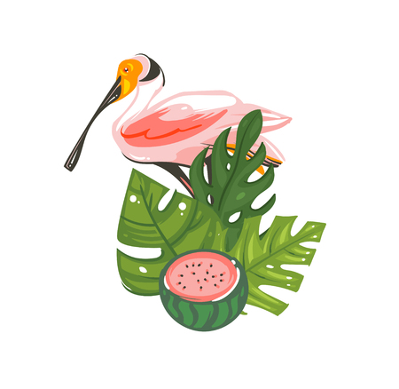 Hand drawn vector abstract graphic cartoon summer time flat illustrations sign with tropical birds ,tropical palm leaves and watermelon isolated on white background