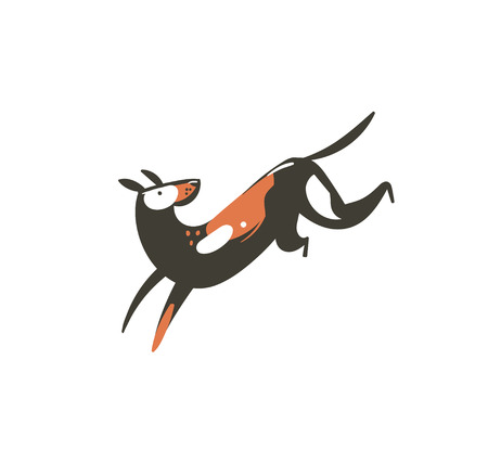 Hand drawn vector abstract cartoon summer time graphic decoration illustrations art with cute running dog isolated on white background Stock Photo