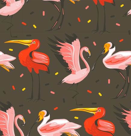 Hand drawn vector abstract cartoon summer time graphic illustrations artistic seamless pattern with exotic tropical birds flamingo,scarlet ibis,roseate spoonbill isolated on black background Stock Photo