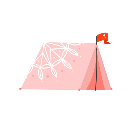Hand drawn vector abstract graphic cartoon summer time flat illustrations with bohemian pink colored tent isolated on white background