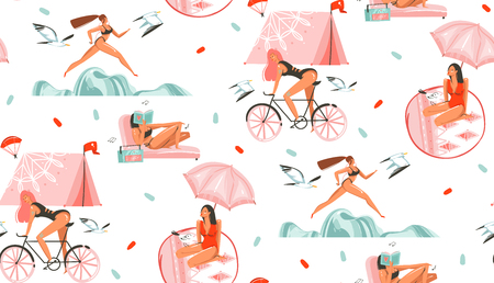 Hand drawn vector abstract graphic cartoon summer time flat illustrations seamless pattern with beauty sport girls,relaxing,running and ridding on bike isolated on white background