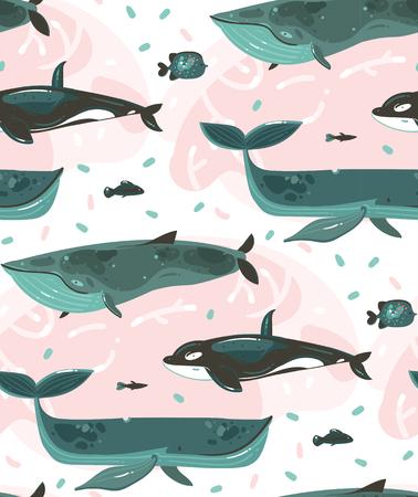 Hand getekende vector abstracte cartoon grafische zomertijd onderwater illustraties naadloze patroon met koraalriffen en schoonheid grote walvissen tekens geïsoleerd op een witte achtergrond Vector Illustratie