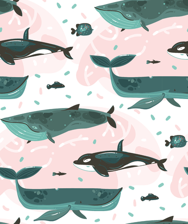Hand drawn vector abstract cartoon graphic summer time underwater illustrations seamless pattern with coral reefs and beauty big whales characters isolated on white background