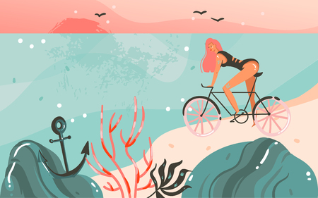 Hand drawn vector abstract cartoon summer time graphic illustrations template background with ocean beach landscape,sunset,beauty girl on bicycle and copy space place for your text
