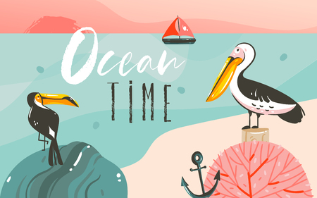 Hand drawn vector abstract cartoon summer time graphic illustrations art template background with ocean beach landscape,beauty toucan and pelican birds,sundown with Ocean time typography quote Stok Fotoğraf