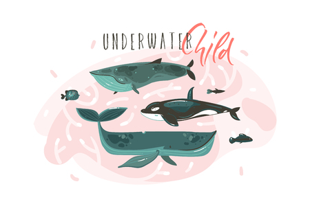 Hand drawn vector abstract cartoon graphic summer time underwater illustrations collection set with beauty big whales characters with Underwater Child typography isolated on white background Stock Photo