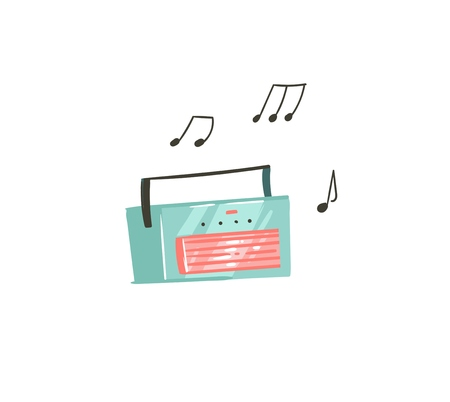 Hand drawn vector abstract cartoon summer time graphic illustrations art with music recorder player isolated on white background Illustration