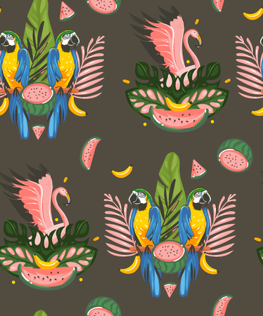 Hand drawn vector abstract cartoon summer time graphic decoration illustrations art seamless pattern with exotic tropical rainforest pink flamingo and Parrot Macaw birds isolated on black background