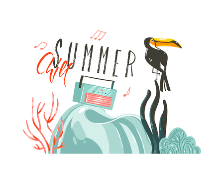 Hand drawn vector abstract cartoon summer time graphic illustrations art template party sign background with toucan bird on beach scene and modern typography Summer Chill isolated on white background Illustration