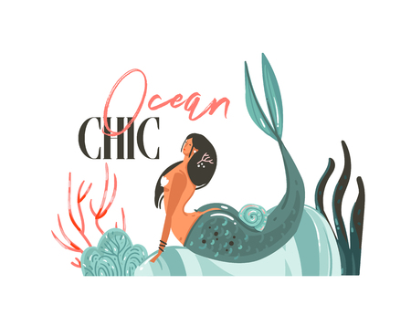 Hand drawn vector abstract cartoon summer time graphic illustrations art template sign background with mermaid girl,seaweeds on beach and modern typography Ocean Chic isolated on white background