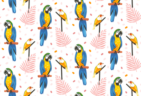 Hand drawn vector abstract cartoon summer time graphic decoration illustrations art seamless pattern with exotic tropical rainforest Gouldian finch and Parrot Macaw birds isolated on white background Иллюстрация