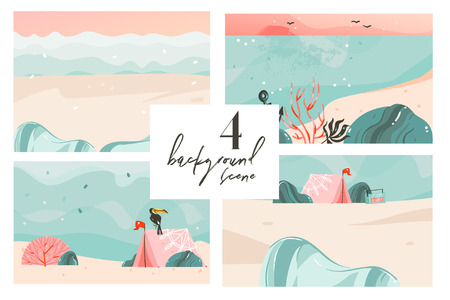 Hand drawn vector abstract cartoon summer time graphic illustrations art backgrounds collection set with ocean beach landscape,pink sunset,beach scene and copy space place for your text