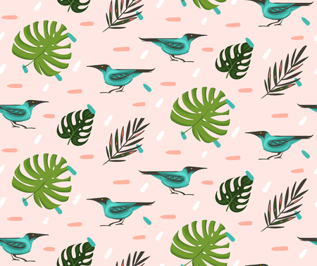 Hand drawn vector abstract cartoon summer time graphic illustrations artistic seamless pattern with exotic tropical palm leaves Green Honeycreeper birds isolated on pink pastel background