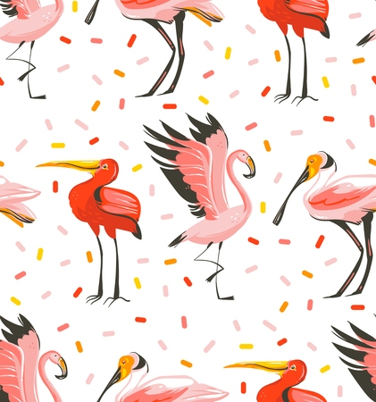 Hand drawn vector abstract cartoon summer time graphic illustrations artistic seamless pattern with exotic tropical birds flamingo,scarlet ibis,roseate spoonbill isolated on white background Ilustração