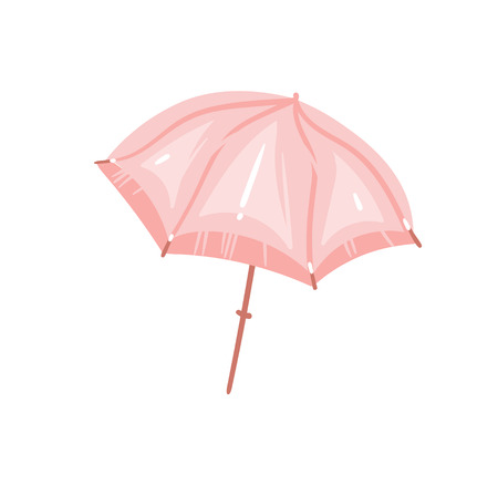Hand drawn vector abstract graphic cartoon summer time flat illustrations with pink pastel colored beach umbrella isolated on white background