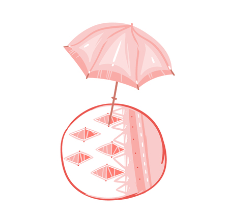 Hand drawn vector abstract graphic cartoon summer time flat illustrations with pink pastel colored beach umbrella and bohemian carpet isolated on white background Illustration