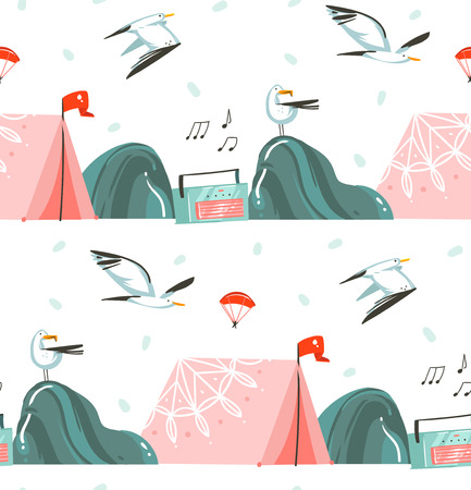 Hand drawn vector abstract graphic cartoon summer time flat illustrations seamless pattern with camping tent,record player and sea gulls isolated on white background