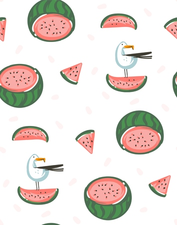 Hand drawn vector abstract graphic cartoon summer time flat illustrations seamless pattern with watermelons isolated on white background