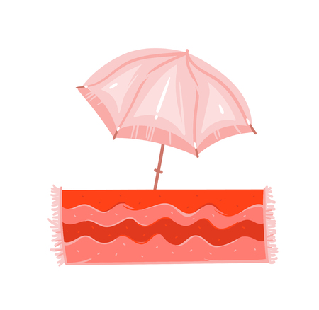 Hand drawn vector abstract graphic cartoon summer time flat illustrations with pink pastel colored beach umbrella and bohemian carpet isolated on white background Ilustração