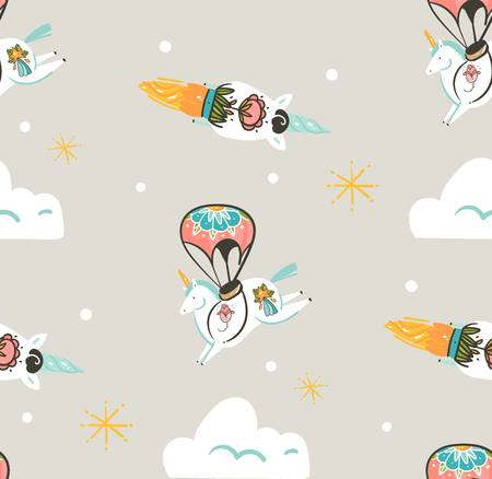 Hand drawn vector abstract graphic creative artistic cartoon illustrations seamless pattern with astronaut unicorns with old school tattoo,stars,parachute and spaceship isolated on pastel background Illustration