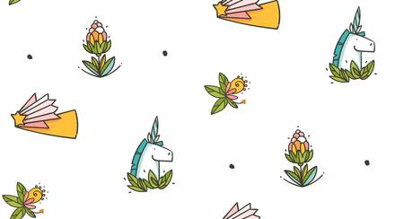 Hand drawn vector abstract graphic creative cartoon illustrations seamless pattern with unicorns old school tattoo,flowers and green leaves isolated on white background Illustration