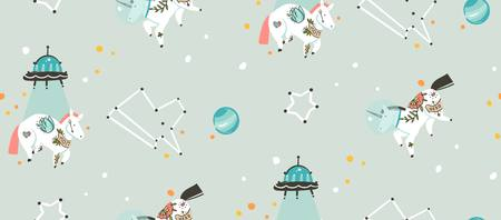 Hand drawn vector abstract graphic creative cartoon illustrations seamless pattern with cosmonaut unicorns with old school tattoo,alien spaceship and planets in cosmos isolated on grey background Illustration