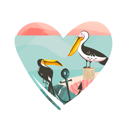 Hand drawn vector abstract cartoon summer time beach graphic illustrations art template logo background in heart shape with ocean beach landscape,pink sunset view and toucan and pelican birds