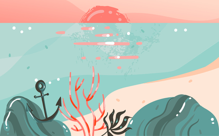 Hand drawn vector abstract cartoon summer time graphic illustrations art template banner background with ocean beach landscape,pink sunset view with copy space place for your design