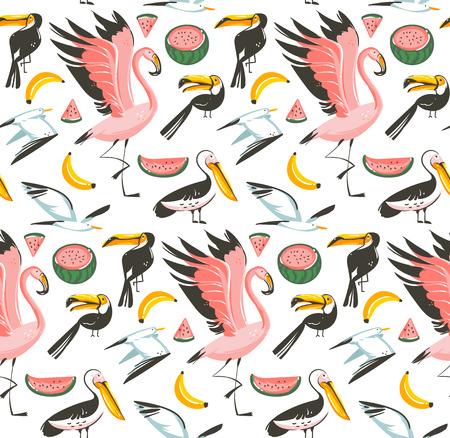 Hand drawn vector abstract cartoon graphic summer time beach illustrations seamless pattern with watermelon,gulls,flamingo and toucan birds,banana and watermelon fruits isolated on white background Illustration