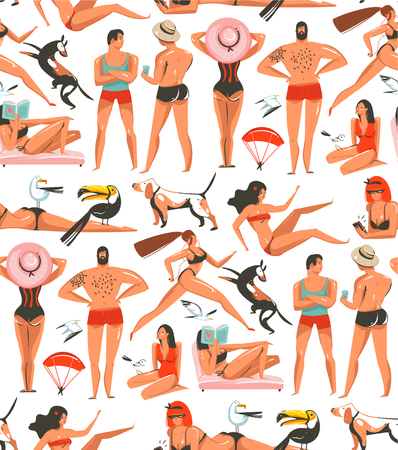 Hand drawn vector abstract cartoon summer time graphic illustrations artistic seamless pattern with relaxing people,beach birds,dogs and beauty running girl on beach isolated on white background