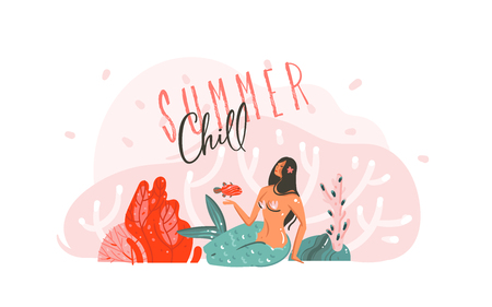 Hand drawn vector abstract cartoon graphic summer time underwater illustrations poster with coral reefs,fish and beauty mermaid girl with Summer Chill typography isolated on white background