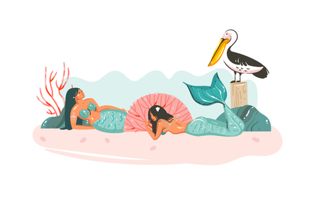 Hand drawn vector abstract cartoon graphic underwater illustrations poster with coral reefs,pelican bird and beauty mermaids girls character relaxing on beach shore isolated on white background
