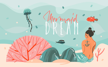 Hand drawn vector abstract cartoon summer time graphic illustrations art scene background with ocean,jellyfish,beauty mermaid girl and Mermaid Dream typography quote isolated on blue water waves Illustration