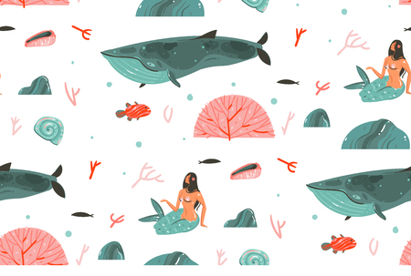 Hand drawn vector abstract cartoon graphic summer time underwater illustrations seamless pattern with big whale,fishes and beauty bohemian mermaid girls characters isolated on white background