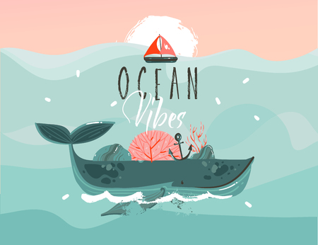 Hand drawn vector abstract cartoon summer time graphic illustrations template background with blue ocean waves,big whale,corals,seaweed,sail,anchor,sundown and Ocean vibes typography quote text