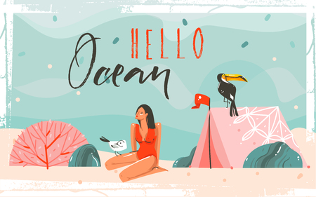 Hand drawn vector abstract cartoon summer time graphic illustrations background scene with sea sand beach,blue waves,toucan bird,pink bohemian tent,girl character and Hello Ocean typography quote Illustration