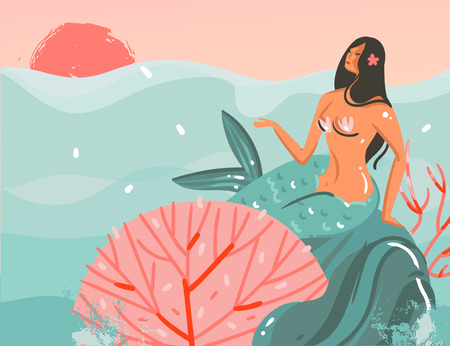 Hand drawn vector abstract cartoon summer time graphic illustrations art template background with ocean sunset scene,beauty mermaid girl isolated on blue waves Ilustração