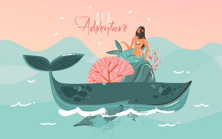 Hand drawn vector abstract cartoon summer time graphic marine illustrations art template background with blue ocean waves,sunset,big whale,corals and beauty mermaid girl isolated on blue background Archivio Fotografico - 103503991