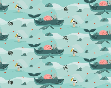 Hand drawn vector abstract cartoon graphic summer time beach scene ocean bottom illustrations seamless pattern with coral reefs,beauty big whales,touan and pelican birds isolated on blue background Illustration