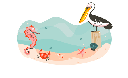 Hand drawn vector abstract cartoon summer time graphic underwater illustrations template background scene with sea bottom,seahorse,pelican bird,starfish and copy space place isolated on white