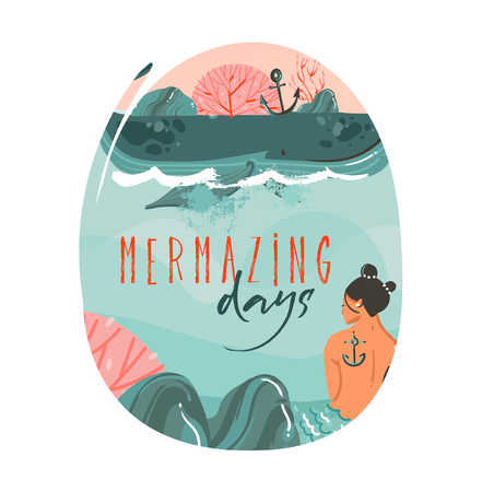 Hand drawn vector abstract cartoon summer time graphic illustrations art template background with ocean beach landscape,big whale,sunset scene and beauty mermaid girl with Mermazing days quote text