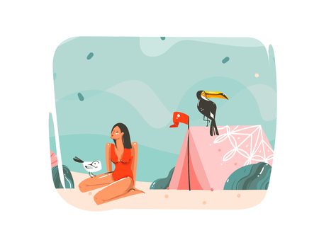 Hand drawn vector abstract cartoon summer time graphic illustrations art template background with ocean beach landscape,pink tent,toucan bird and beauty girl with copy space place for your text Illustration