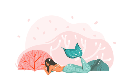 Hand drawn vector abstract cartoon graphic underwater illustrations poster with coral reefs,seaweed and beauty mermaid girl character isolated on white background Stock Illustratie