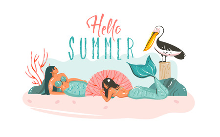 Hand drawn vector abstract cartoon graphic illustrations poster with coral reefs,pelican bird and beauty mermaids girls character relaxing on beach and Hello Summer quote isolated on white background
