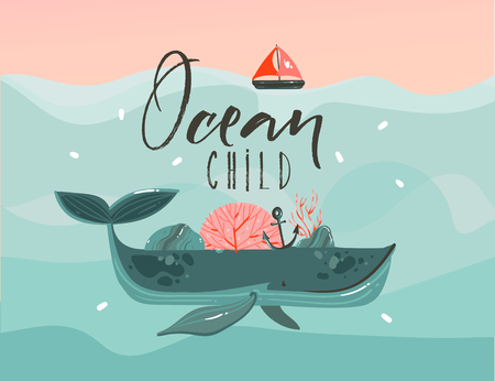 Hand drawn vector abstract cartoon summer time graphic illustrations art template print background with beauty whale in ocean waves,sail,sunset scene and Ocean Child quote isolated on blue background Illustration
