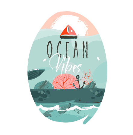Hand drawn vector abstract cartoon summer time graphic illustrations art template badge background with ocean beach landscape,big whale,sunset scene and Ocean vibes typography quote