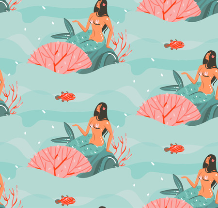Hand drawn vector abstract cartoon graphic summer time underwater illustrations seamless pattern with jellyfish,fishes and beauty bohemian mermaid girls characters isolated on white background