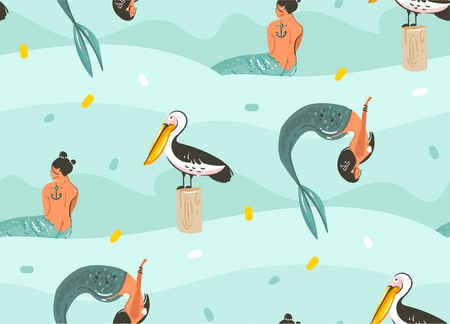 Hand drawn vector abstract cartoon graphic summer time underwater illustrations seamless pattern with pelican bird,fishes and beauty bohemian mermaid girls characters isolated on blue background